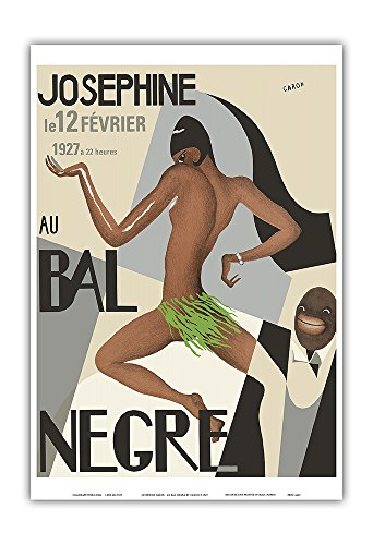 Pacifica Island Art Josephine Baker - Au Bal Negra (The Black Ball) - le 12 Février 1927 (February 12, 1927) - Vintage World Travel Poster by Caron c.1927 - Master ()
