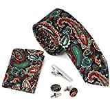 Bundle Monster 4pc Floral Design Matching Pattern Mens Suit Fashion Accessories - Multicolor Paisley