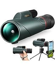 COCOCAM 10-20x50 Monoculaire telescoop HD Starscope monoculaire verrekijker met smartphonehouder en volledig metalen statief FMC BAK4 Prisma voor vogelobservatie, reizen, kamperen, concerten, balspelen, wilde dieren