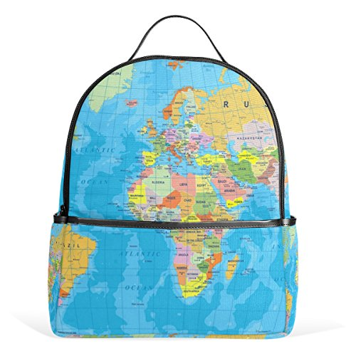 JSTEL World Map School Backpack 4th 5th 6th Grade for Boys Teen Girls Kids