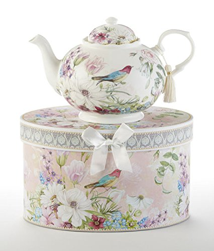 Teapot New Delton Daisy Bird Pastel Flowers Porcelain, Gift Boxed in Hat Box Mother's day, Birthday (Mothers Day Teapot)