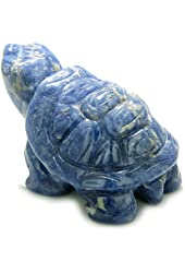 Amulet Sodalite Turtle Gemstone Carving Positive and Healing Powers Pocket or Desk Totem Good Luck Charm with Pouch