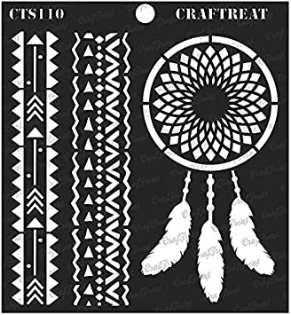 Warli Tile Floor Fabric DIY Albums Scrapbook and Printing on Paper Home Decor CrafTreat Stencil Reusable Painting Template for Journal Notebook Crafting Wall Wood 6x6 inches
