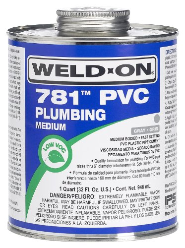 Weld-On 14012 Gray 781 Medium-Bodied PVC Plumbing Cement, Fast-Setting, 1 pint Can with Applicator Cap ()