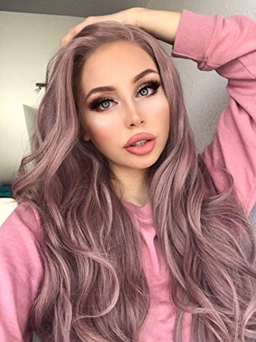 eNilecor Lace Front Wigs Long Synthetic Curly Hair Replacement Wigs for Women (Ash Pink)