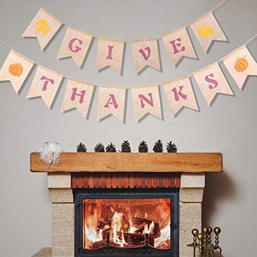 Give Thanks Banner,Thanksgiving Bunting Happy Thankful Banner Autumn Hanging Swirls Thanksgiving Decorations Give Thanks Burlap Garland Bunting Banner-2PCS -