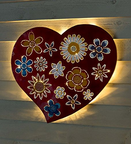 Lighted Floral Love Recycled Oil Drum Lid Wall