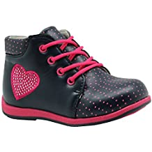 Apakowa Toddler Girls Ankle Boots with Love Heart Rhinestone Insole with Arch Support