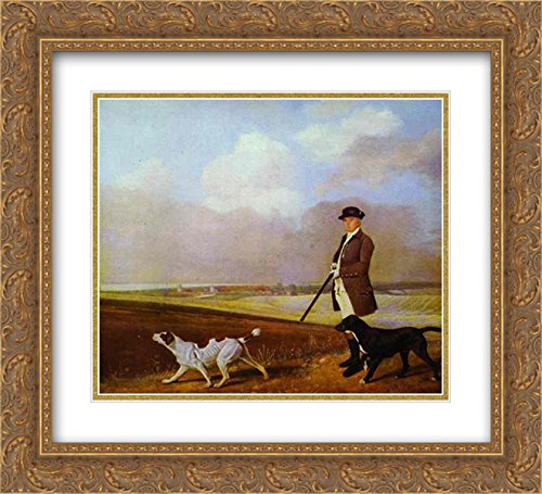 George Stubbs 2X Matted 22x20 Gold Ornate Framed Art Print 'Sir John Nelthorpe, 6th Baronet Out Shooting with his Dogs in Barton Field, Lincolnshire'