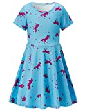 RAISEVERN Girls Summer Short Sleeve Dress Star Horse Printed Casual Dress for Kids 8-9 Years