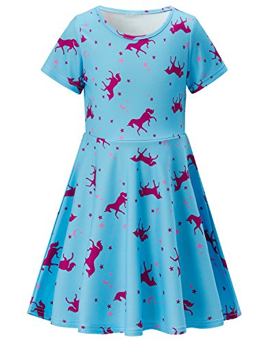 Girls Short Sleeve Dress 3D Print Cute Red Unicorn Moon Star Pattern Blue Summer Dress Casual Swing Theme Birthday Party Sundress Toddler Kids Twirly Skirt