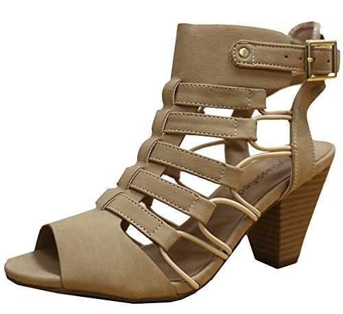 City Classified Women's Awesome Gladiator Strappy Chunky Block Heel Sandal with Lightly Padded Insole, 8.5 B(M) Us,Beige Nubuck