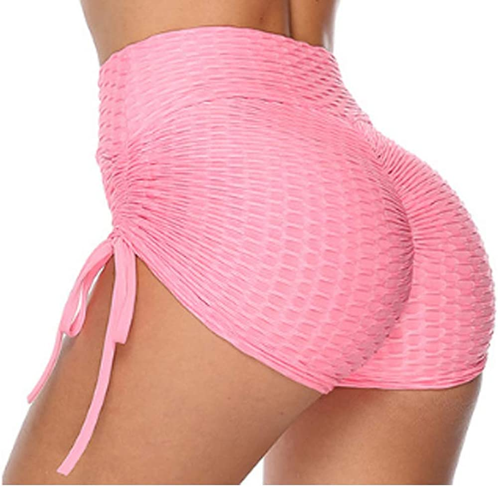NC Womens High Waist Ruched Butt Lifting Booty Shorts Workout Yoga Shorts Pink