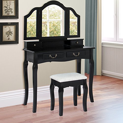 best choice products tri mirror vanity table set w stool bedroom home furniture black cabinets. Black Bedroom Furniture Sets. Home Design Ideas