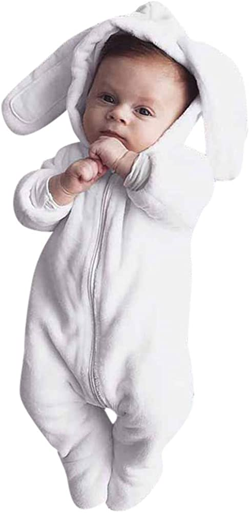 0-24Mesi Pigiama con Cappuccio Orecchie di Coniglio E Pulsante Pagliaccetti Maniche Lunghe Caldo Tutina Outfits per Ragazze E Ragazzi Inverno Autunno Mbby Tutine Neonato