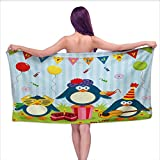 Onefzc Travel Bath Towel Kids Birthday Cartoon Style Penguin Party with Flags Cakes and Surprise Box Super Soft Highly Absorbent W35 x L12 Pale Blue and Fern Green