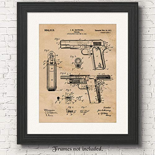 Original 1911 Colt 45 J.M. Browning Gun Patent Art Poster Print- Set of 1 (One 11x14) Unframed Photo- Great Wall Art Decor Gift for Home, Office, Garage, Man Cave, Shop, NRA Fan, Collector-Owner