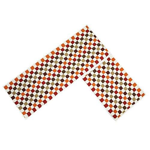 O'Family 2 Piece Microfiber Chevron Non-Slip Soft Kitchen Mat Bath Rug Doormat Runner Capet Set,Mosaic Design -