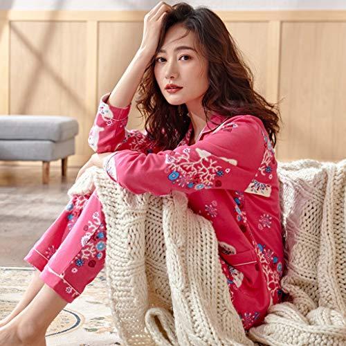 Pink Servicio Pijamas De Dormir Larga Ropa Primavera A Otoño color Domicilio Pink Traje Invierno Algodón Manga Mujer L Para Size qqaxFvC