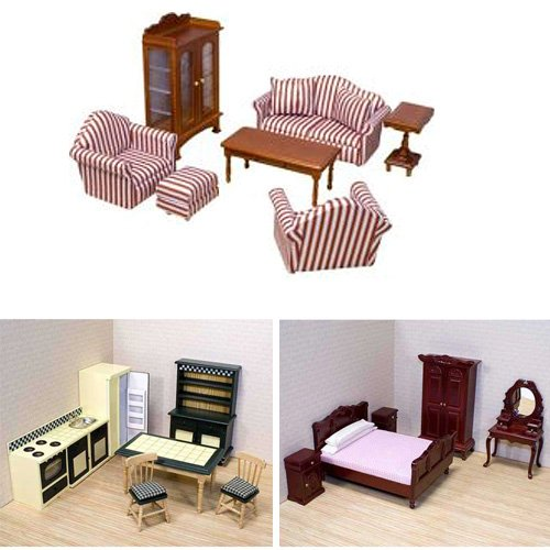 Melissa And Doug Deluxe Dollhouse Furniture Bundle