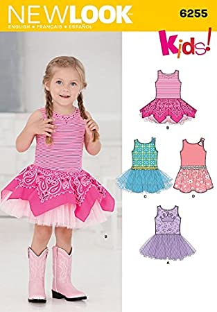 New Look Kinder einfach Schnittmuster 6255 Tutu Kleider: Amazon.de ...