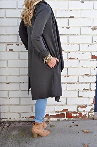 Collar Lapel Chamarra Gris Larga Cazadora Tench Largo Abrigo Tenchcoat Overcoat Jacket Top Drapeada Large Chaqueta Duster Abrigos Capa Coat Cascada Notch Drapeado qXSgIg