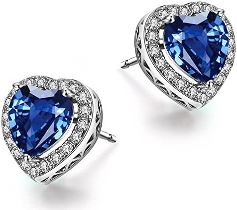 Caperci Women's Sterling Silver Halo Heart Stud Earrings made with Created Gemstones, Best Gifts for Women