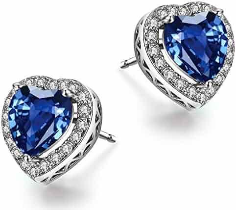 e48b664b4 Caperci Angel Wings Heart Swarovski Crystal Stud Earrings for Women, Jewelry  Gifts for Valentine's Day