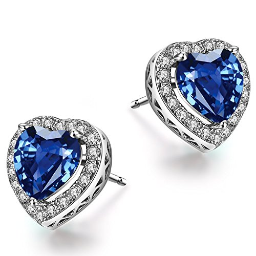 Caperci ♥Valentine's Day Gifts♥ Sterling Silver Created Blue Sapphire Heart Stud Earrings for Women (Created Diamond Earings)