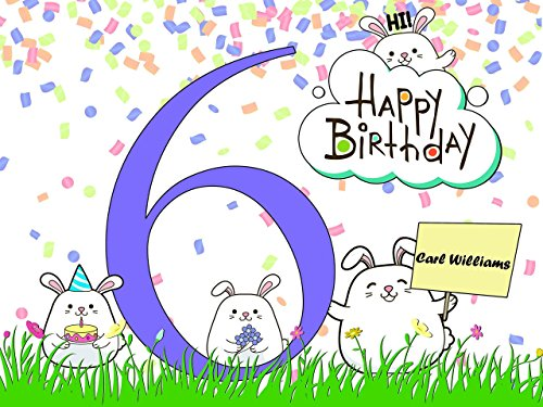 Custom 6 Year Old Creative Design Birthday Poster for Kids - Size 24x36, 48x24, 48x36; Personalized Girls and Boys Bunny Birthday Banner Wall Décor, Handmade Party Supply Poster Print