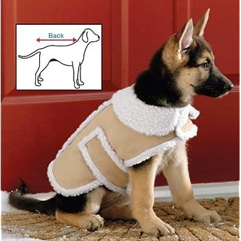 Amazon.com : Fashion Pet Outdoor Dog Shearling Coat, Medium, Brown ...