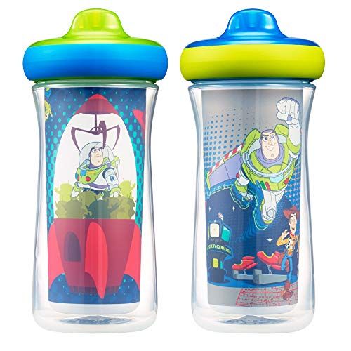 Disney/Pixar Toy Story Insulated Hard Spout Sippy Cups 9 Oz, 2pk | Scan with Free Share the Smiles App for Cute Animation | Share with Friends | Leak Proof Cups -