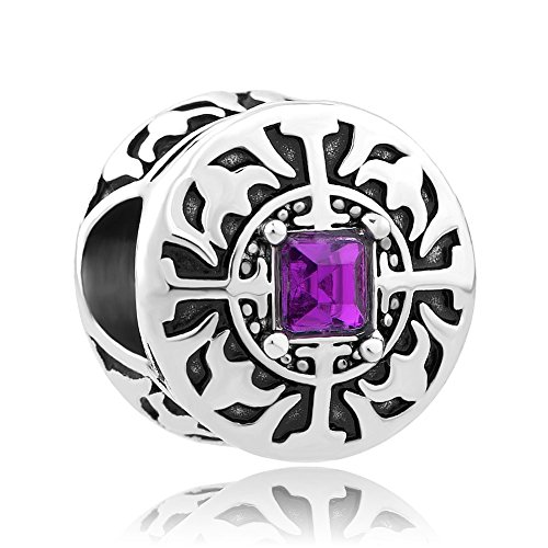Q&Locket Cross Charms Bead With Purple Crystal For Bracelet