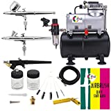 OPHIR Airbrush Kit Airbrushing System with Compressor Tank for Model Hobby Crafts 3 Airbrushes (220V EU VERSION)