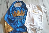 2 piece Newborn Infant baby boy royalty set outfit photo prop prince king royal blue gold crown onesie cape