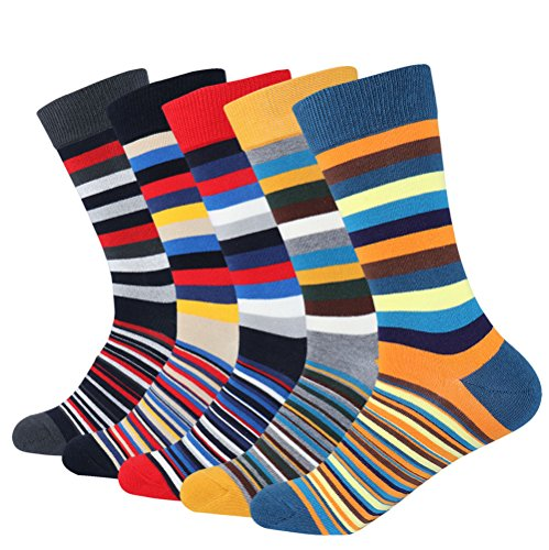 Men's 5-pair Funky Striped Pattern Colorful Casual Cotton Dress Crew Socks For Business - Striped Dress Socks
