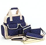 Forkidlove 5pc Waterproof Diaper Tote Bags Satchel Mommy Backpack Baby Nappy Dot Women's Tope-handle Handbag (Dark Blue)