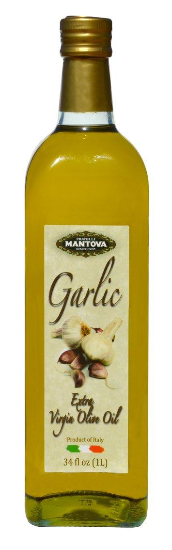 Mantova Garlic Italian Extra Virgin Olive Oil Bottles, 34 oz, 2 Pack by Mantova
