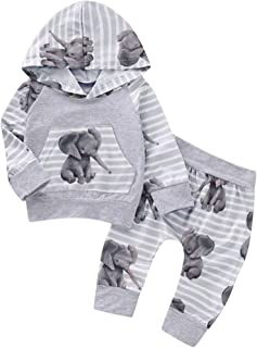 KONFA Toddler Newborn Baby Girls Boys Fall Winter Clothes,Cartoon Elephant Hoodie Pocket Pullover+Striped Pants 2Pcs Outfits