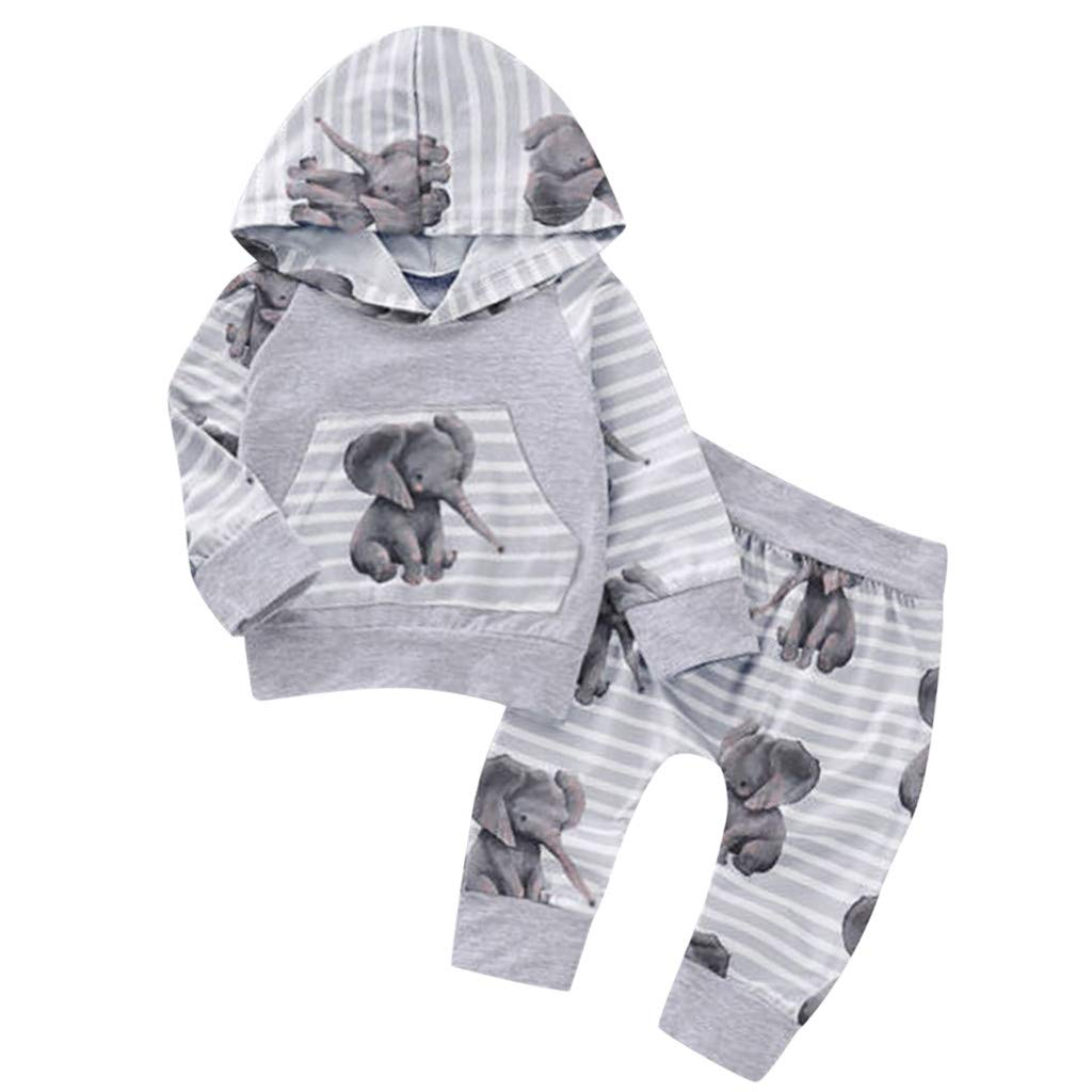 GoodLock Baby Boys Girls Fashion Clothes Set Newborn Cartoon Print Hooded Tops Pants Autumn Outfits Tracksuit 2Pcs (Gray, 12-18 Months)