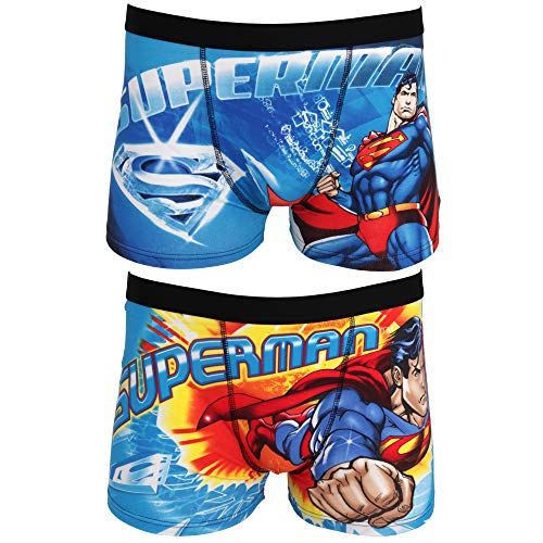 DC Comics Mens Superman Cotton Rich Boxer Shorts (2 Pairs) (M) (Blue) ()