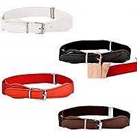 XLKJ 4 Piezas de Cinturón Elástico Ajustable Cómodo de Niños, con Cierre de Cuero para Los Niños y Niñas, 4 Colores…