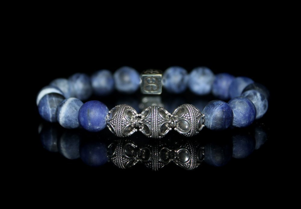 Matte Sodalite and Sterling Silver Bracelet, Men's Luxury Bracelet, Men's Designer Bracelet Men's Luxury Bracelet Men's Designer Bracelet