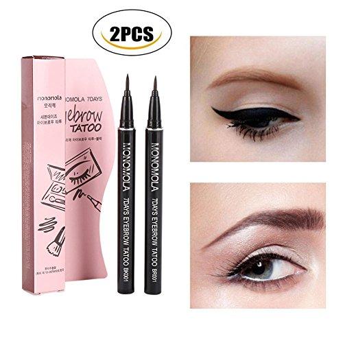 Shouhengda Eyebrow Pen Tattoo Pen Pencil Liner Long Lasting Waterproof Eyebrow Colors Makeup (2 Colors Pack(Light+Dark Brown))