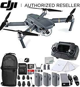 DJI Mavic Pro Collapsible Quadcopter Drone Ultimate Backpack Bundle with Remote Controller, Intelligent Flight Battery, 8330 Folding Propellers, Gimbal Clamp, Charger, 16GB microSD Card + More