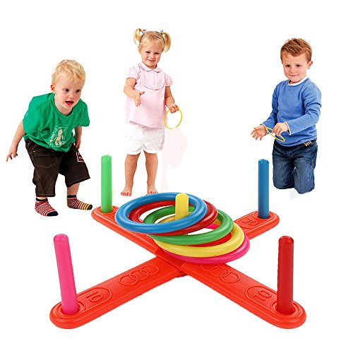 Gbell Interesting Hoop Ring Toss Toy, Plastic Ring Toss Quoits Garden Game Pool Toy Outdoor Fun Set for Toddlers Over 3 Years Old (⭐ Multicolor -