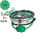 tom+alice Natural Gemstone Valentine Gift Jewelry 5pcs Set Beaded Stretch Bracelets for Women Multilayer Stack Bohemian Style (Green Gold)