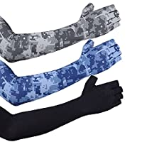 EXski UV Sun Protection Cooling Arm Sleeves Sunblock Tattoo Cover Long Arm Gloves Men Women Cycling Driving Running Golf Outdoor Activities