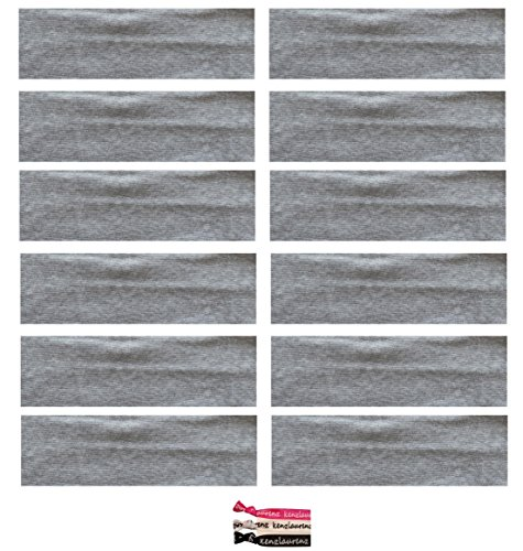 Kenz Laurenz Soft and Stretchy Elastic Cotton Headbands, (Pack of 12) - Light Grey