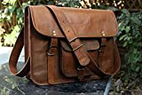 HLC Leather Unisex Real Leather Messenger Bag for Laptop Briefcase Satchel ...